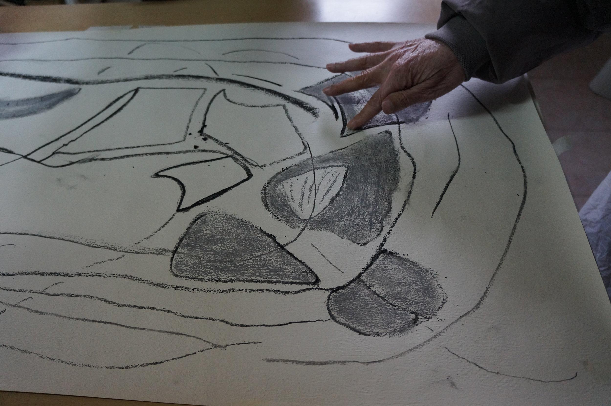 Hospital charcoal drawing