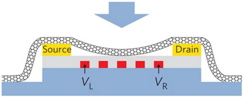 Image: Nanotube interfaced to nanoelectronic circuitry.