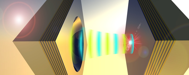 Image: Coupling a nanoparticle light emitter to an open microcavity.