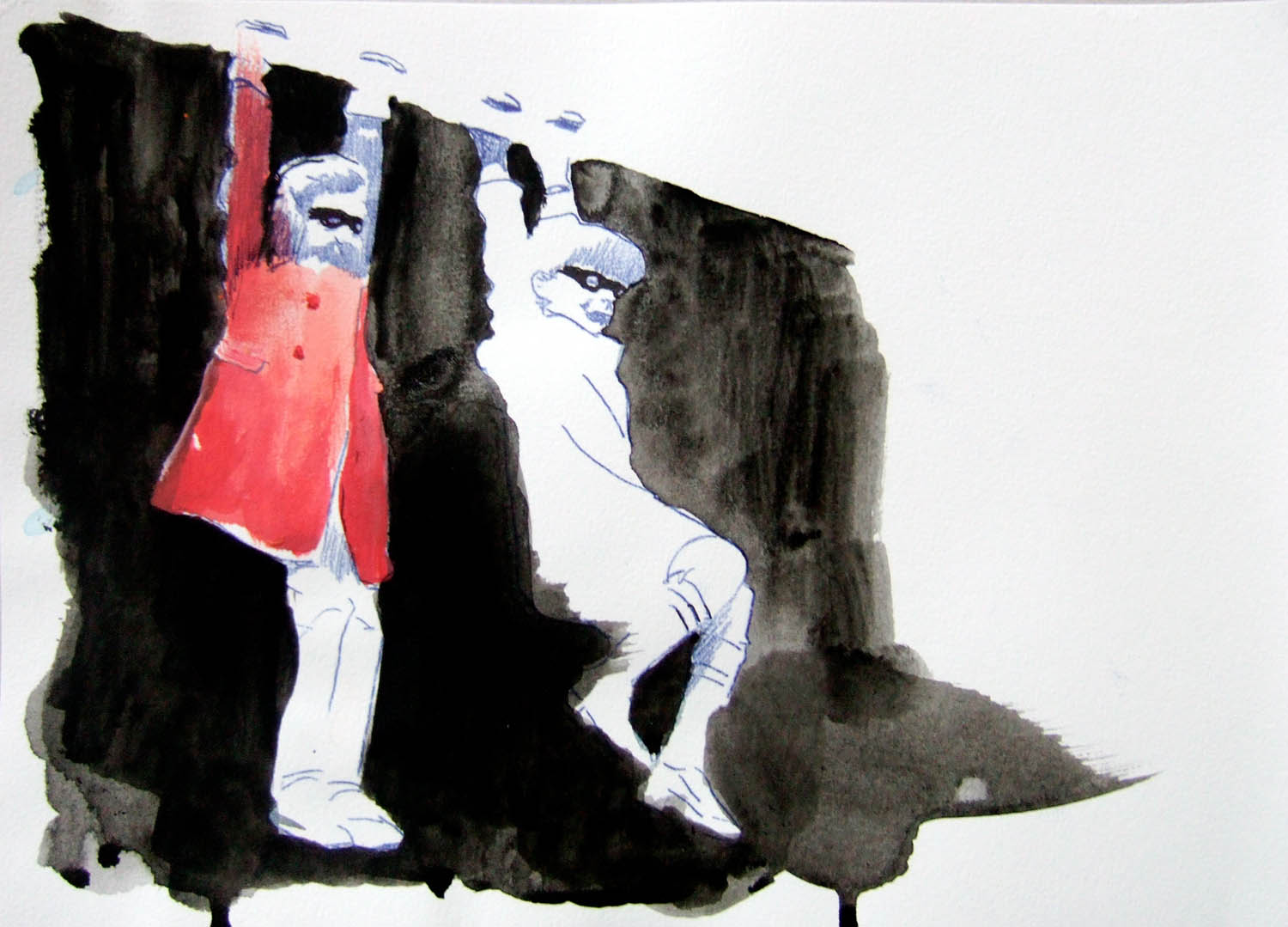 Bandits (2010), watercolour and ink on paper, 210 x 297mm