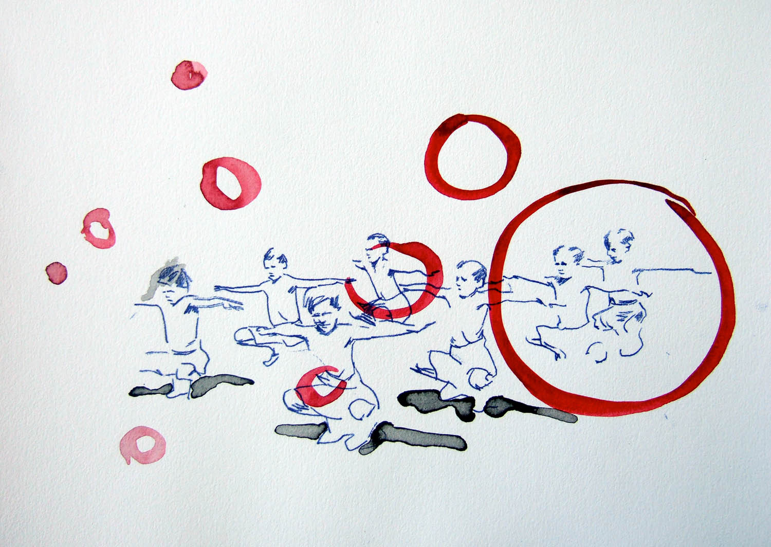 Bubble Boys (2010), watercolour and ink on paper, 210 x 297mm