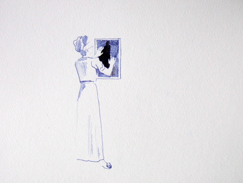 Sleepwalker (2010), pen and ink on paper, 297 x 420mm