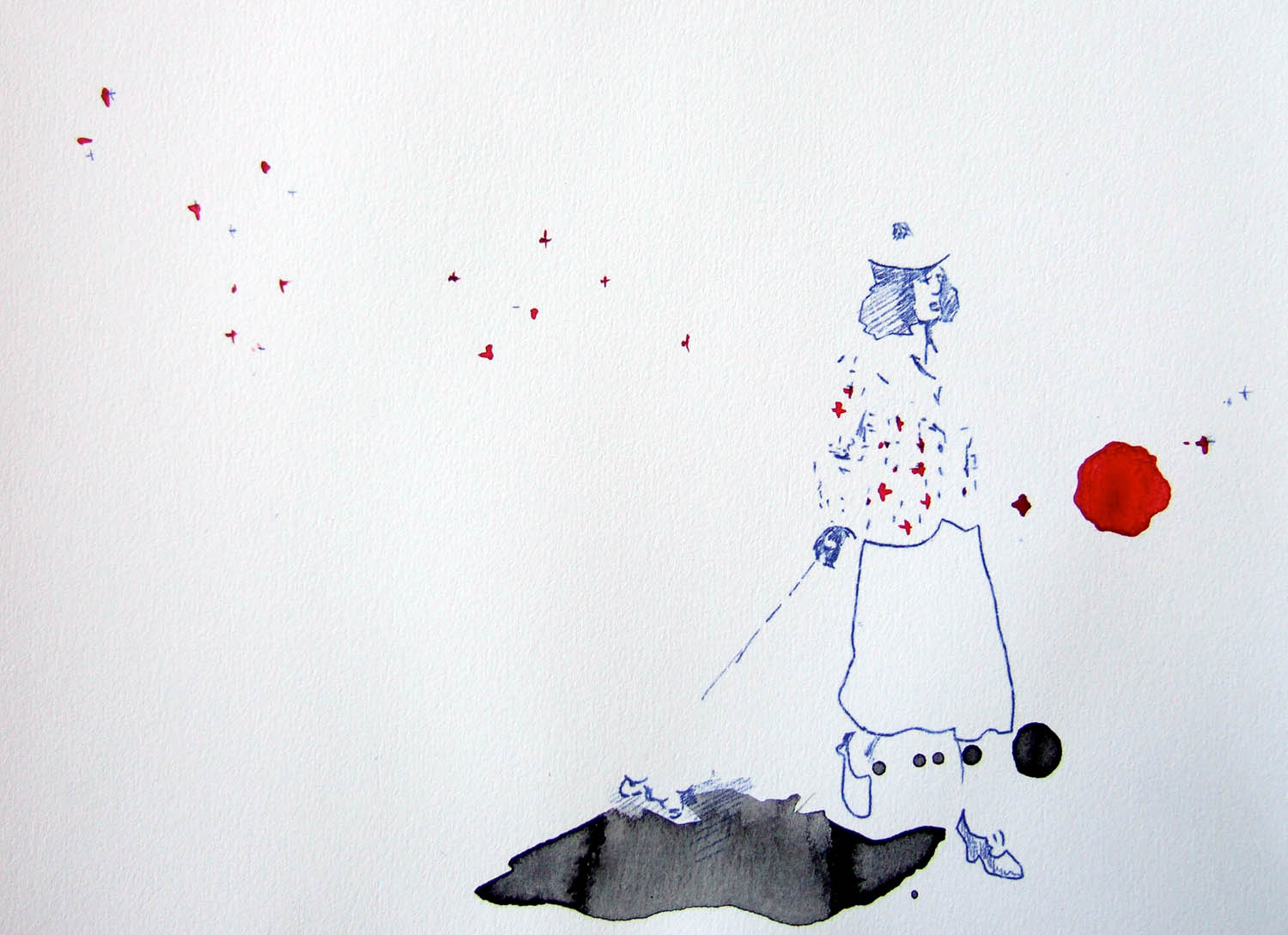 Walk on By (2010), watercolour and ink on paper, 210 x 297mm