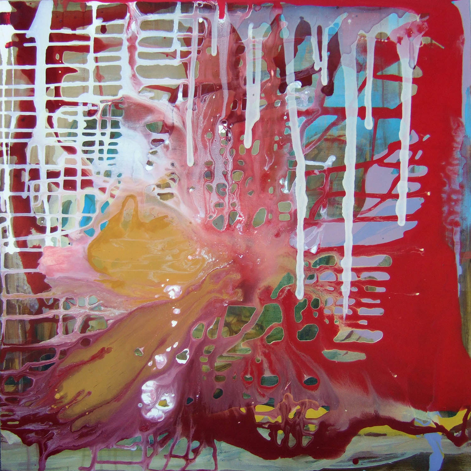 Chaos (2007), ink, acrylic and resin on canvas, 100 x 100cm