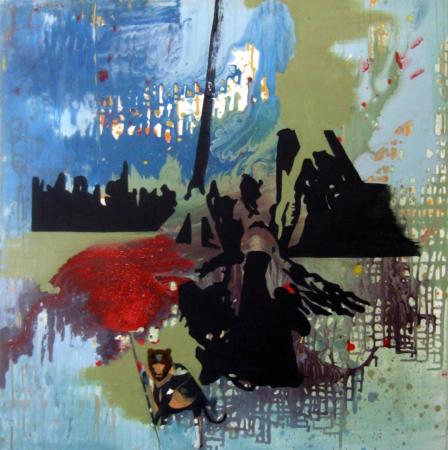 Monkey Girl (2006), acrylic and oil on canvas, 100 x 100cm