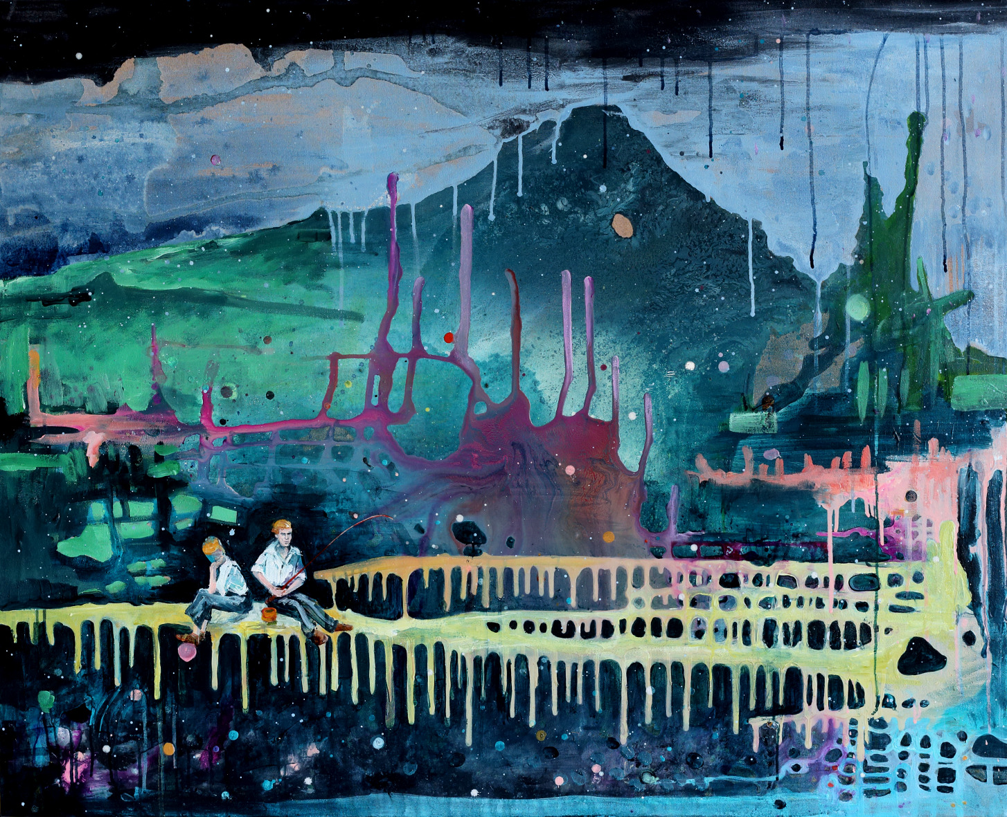 """Kathryn Cowen, """"Little Do They Know"""", 2013, acrylic, ink and resin on canvas, 97.5 x 120cm"""
