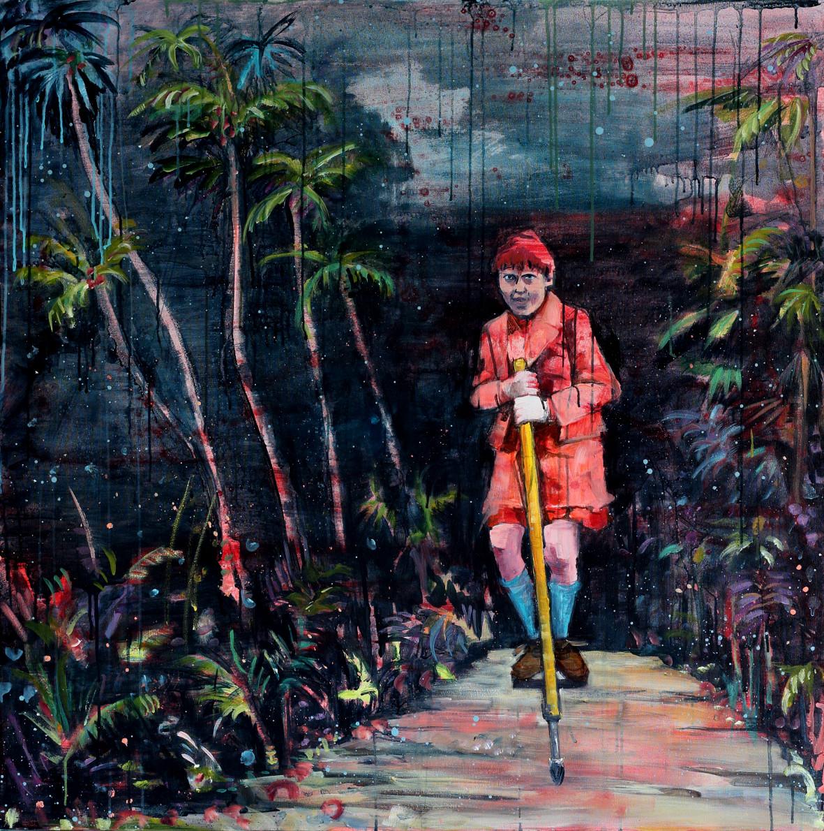 """Kathryn Cowen, """"Bop Bop Bandit Strikes Again"""", 2013, acrylic and ink on canvas, 118 x 118cm"""