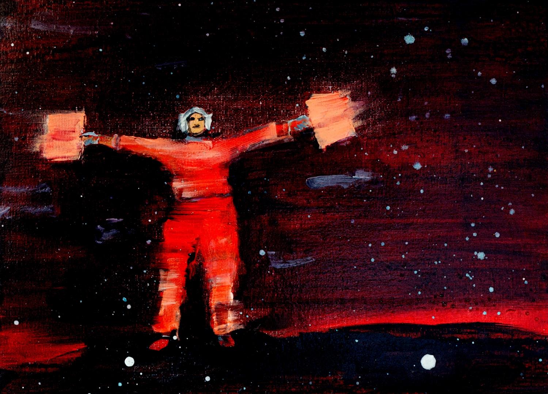 """Kathryn Cowen, """"Signal Man"""", 2013, acrylic on canvas, 25.4 x 35.6cm"""