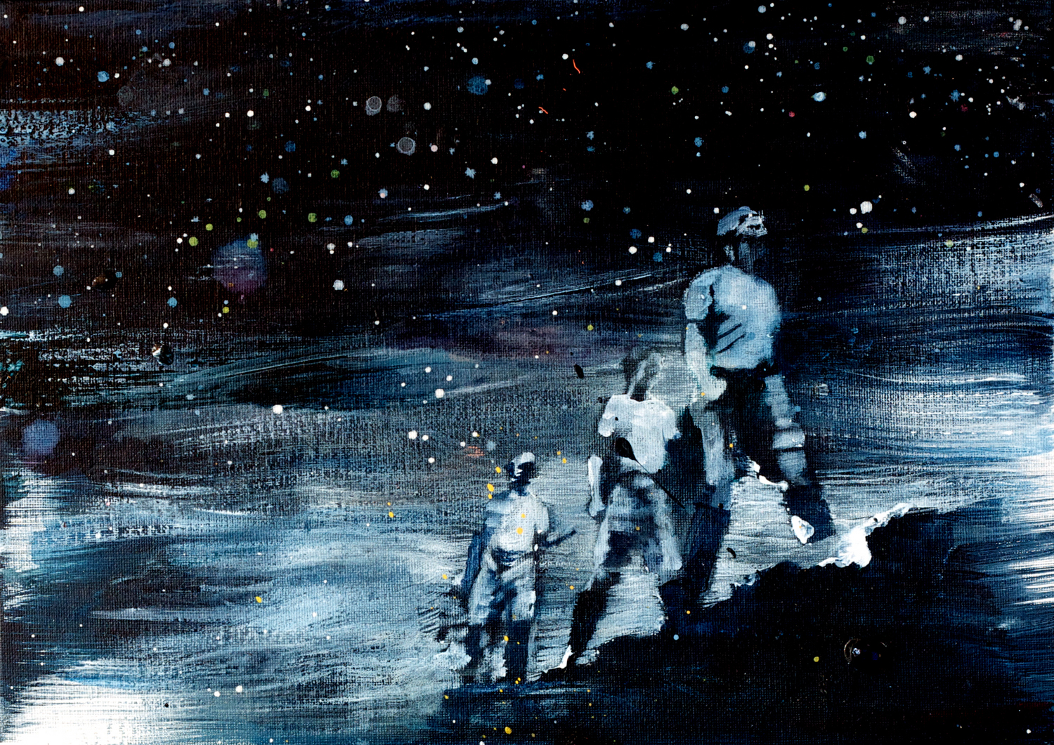 """Kathryn Cowen, """"Space Rangers"""", 2013, acrylic and ink on canvas, 25.4 x 35.6cm"""