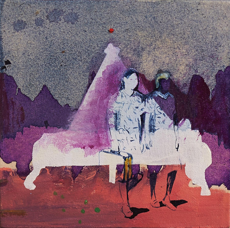 Arrival, 2015, acrylic, ink, polyurethane varnish and oil medium on canvas, 20 x 20cm
