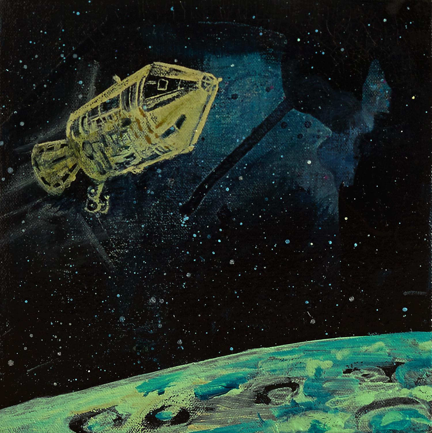 Interstellar, 2015, acrylic, ink, polyurethane resin and oil medium on canvas, 20 x 20cm