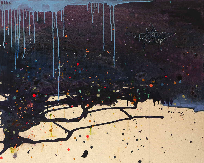The Faraway Nearby, 2014-15, acrylic, ink, polyurethane resin and oil medium on canvas, 80 x 100cm