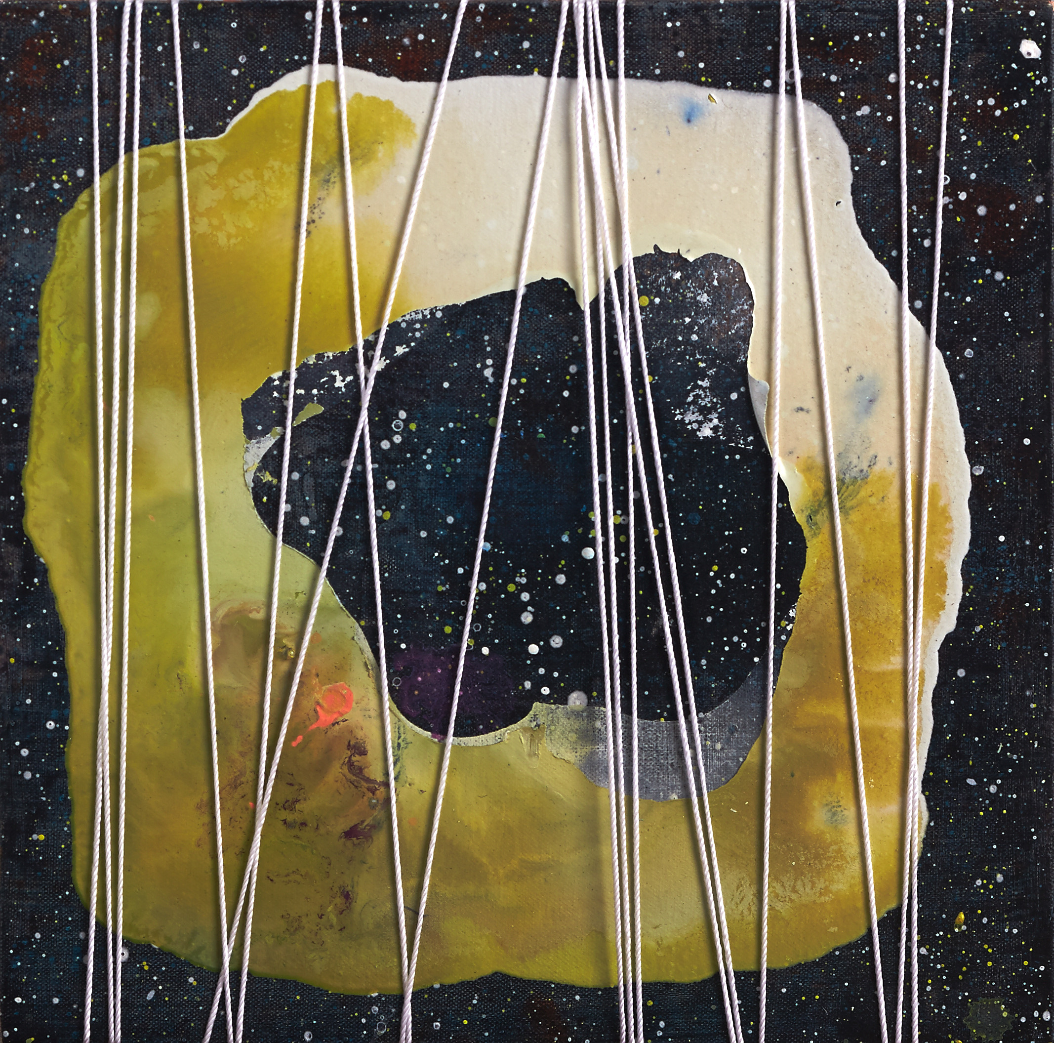 The Lasso of Time, 2014, acrylic, ink, polyurethane resin and string on canvas, 30 x 30cm