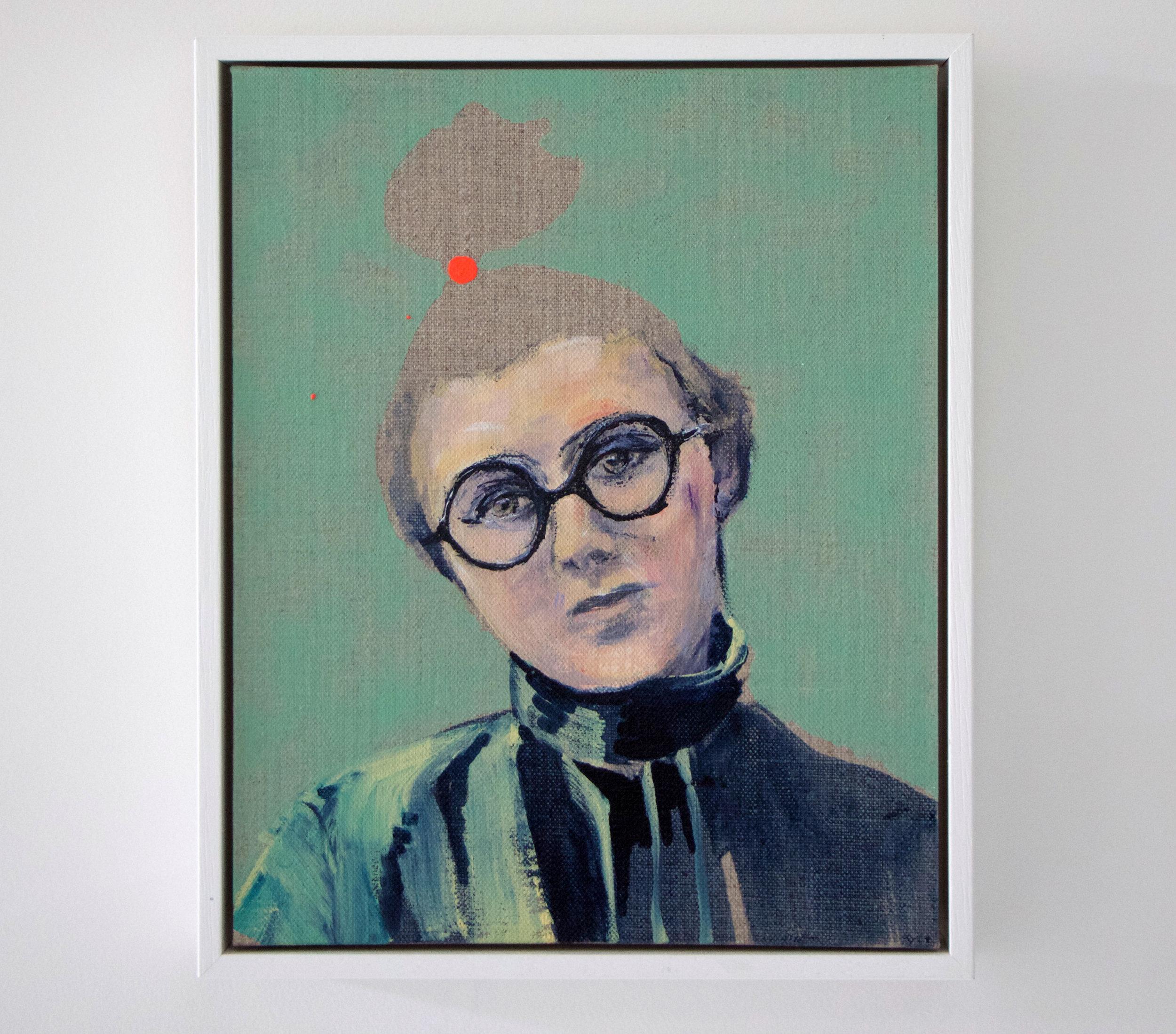Kathryn Cowen,  Dahlia , 2015, acrylic and ink on linen, 25.4 x 20.3cm