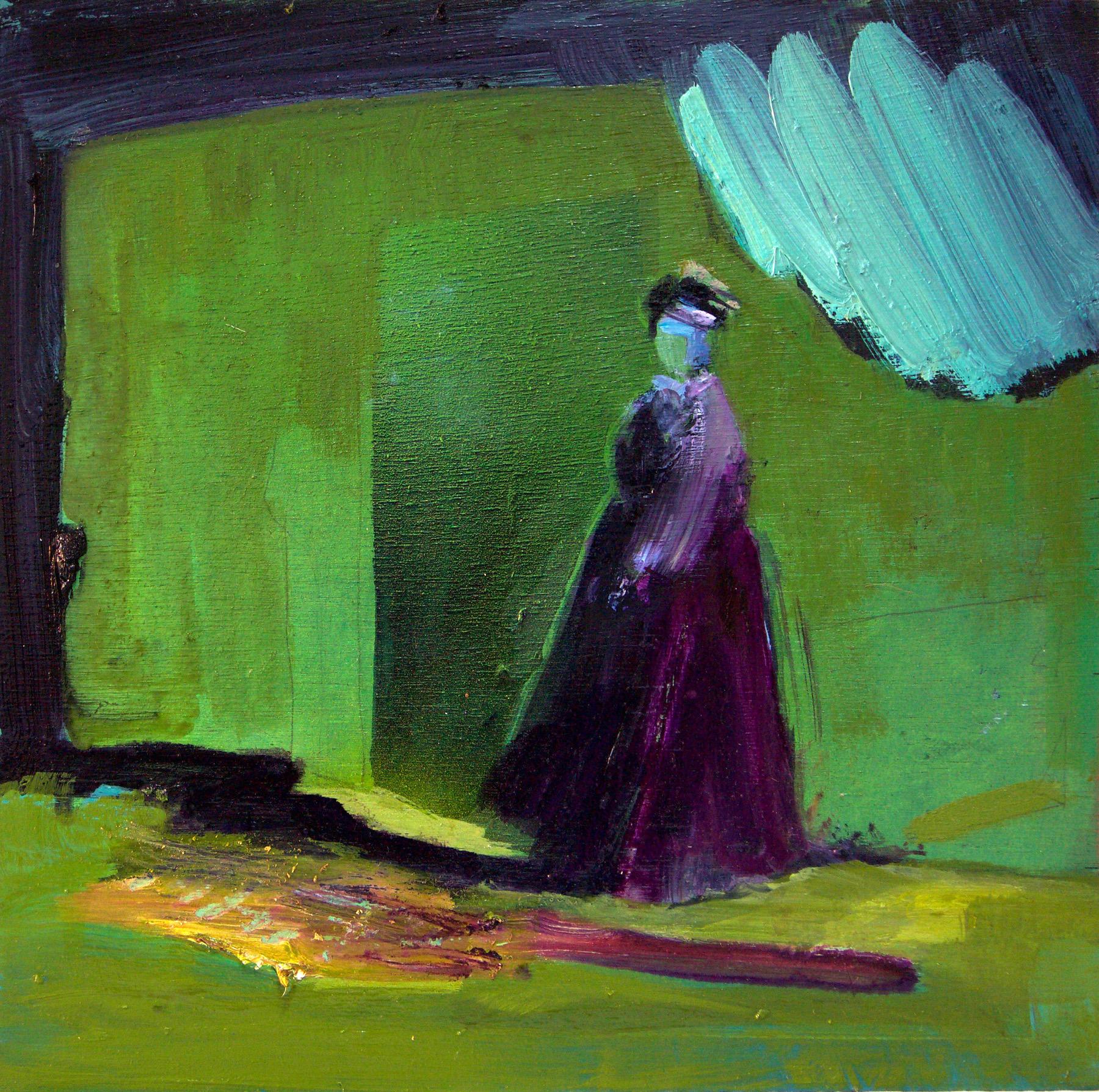 Kathryn Cowen, Guide, 2017, acrylic, oil and aerosol paint on board, 30 x 30cm