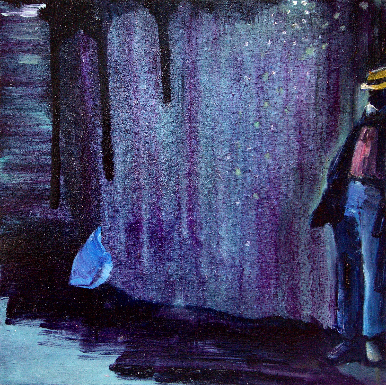 Kathryn Cowen, In the Shadows, 2017, acrylic, oil and aerosol paint on board, 30 x 30cm