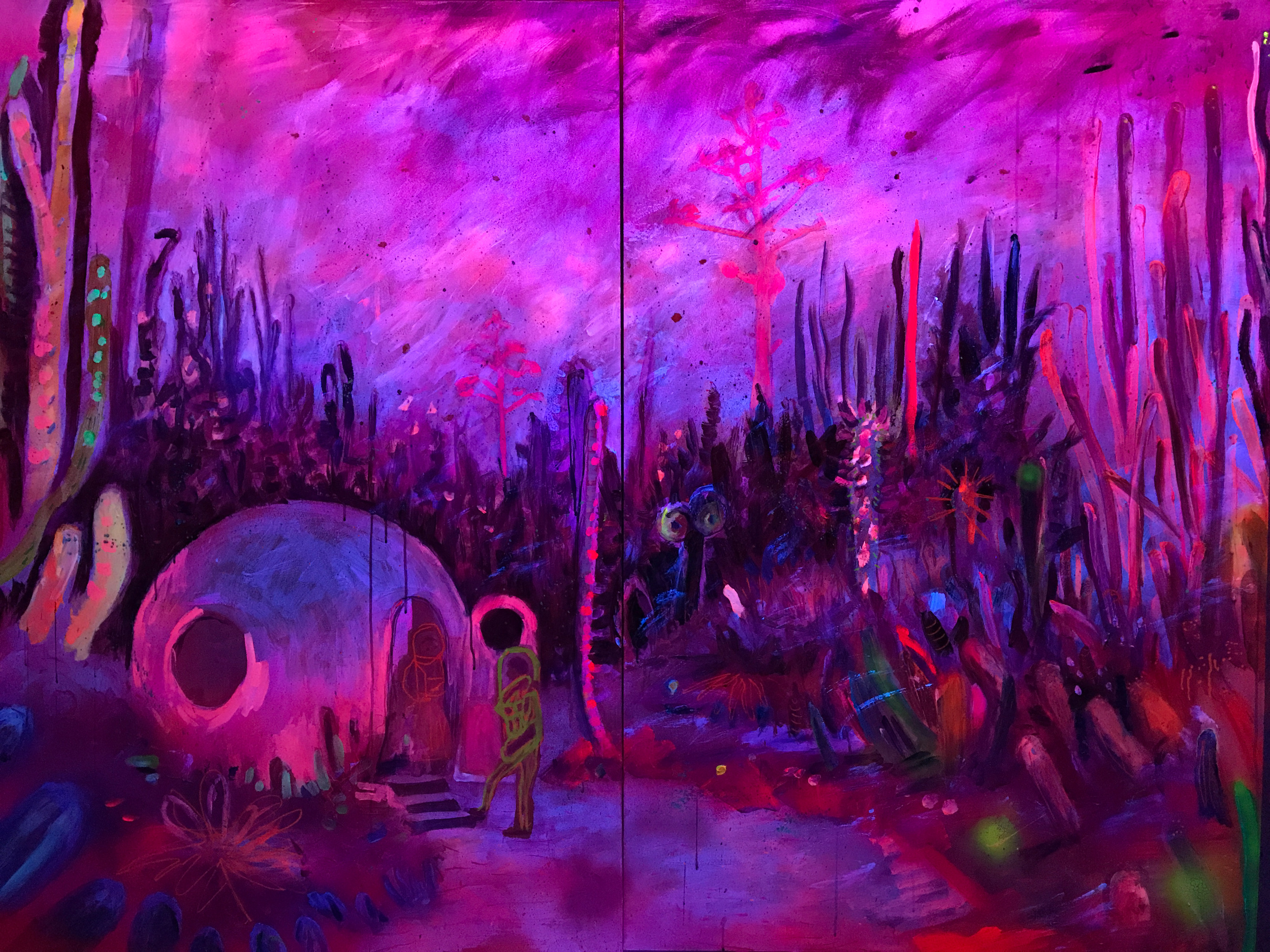 #otherworlds, 2017, ultraviolet light, posca pen, acrylic, fluorescent and aerosol paint on board, 1.5 x 2m (ultraviolet light view)