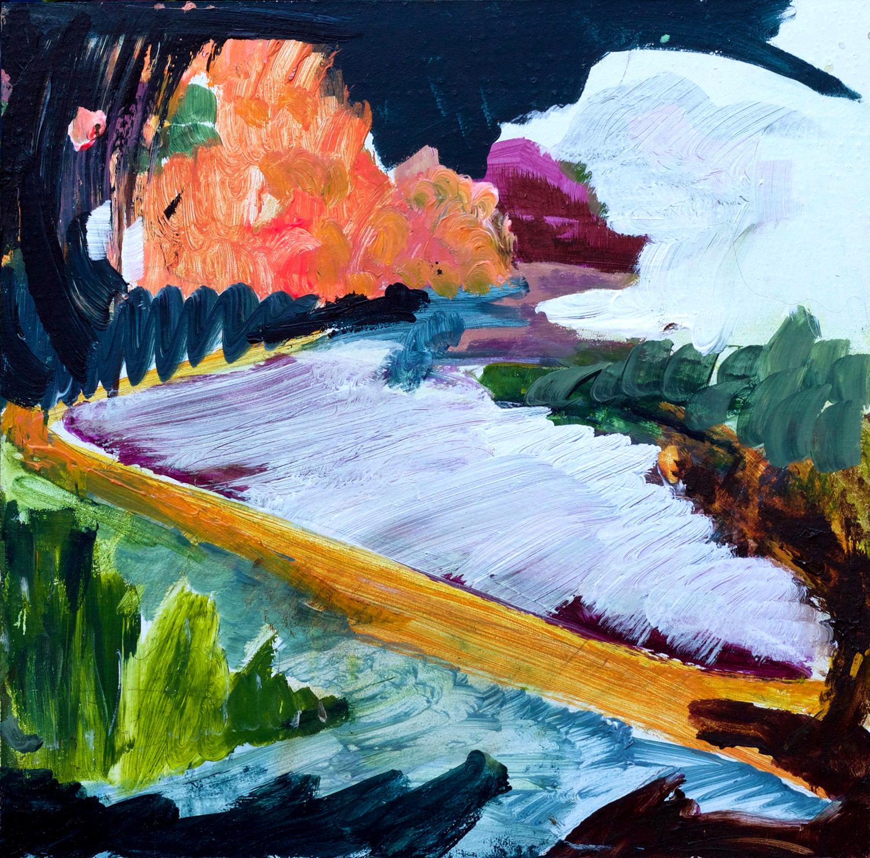 Kathryn Cowen, Dunns Swamp, 2018, acrylic on board, 42 x 42cm