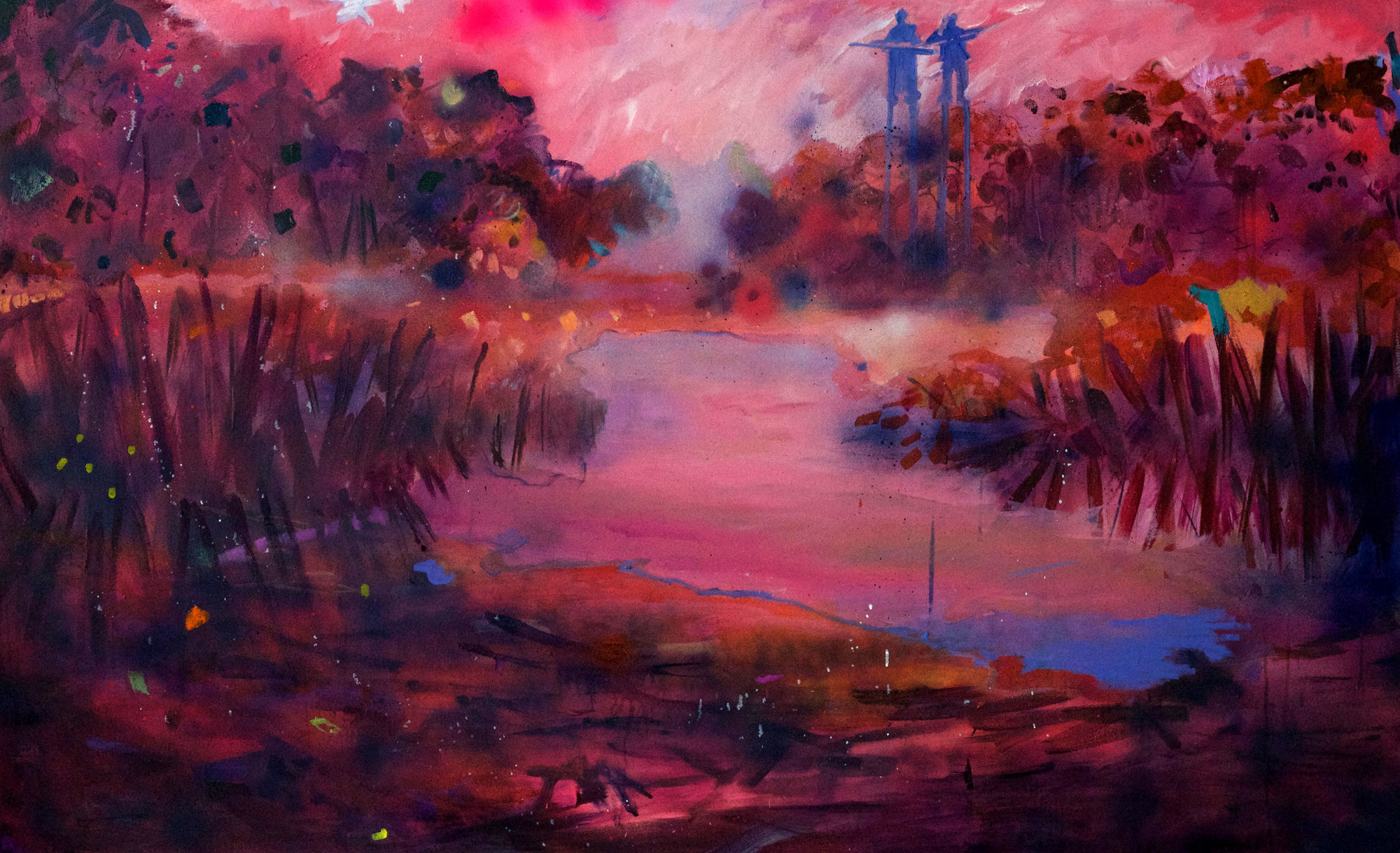 Kathryn Cowen,  Visit To Dunns Swamp , 2018-19, acrylic, aerosol and oil on canvas, 101.5 x 167.5cm
