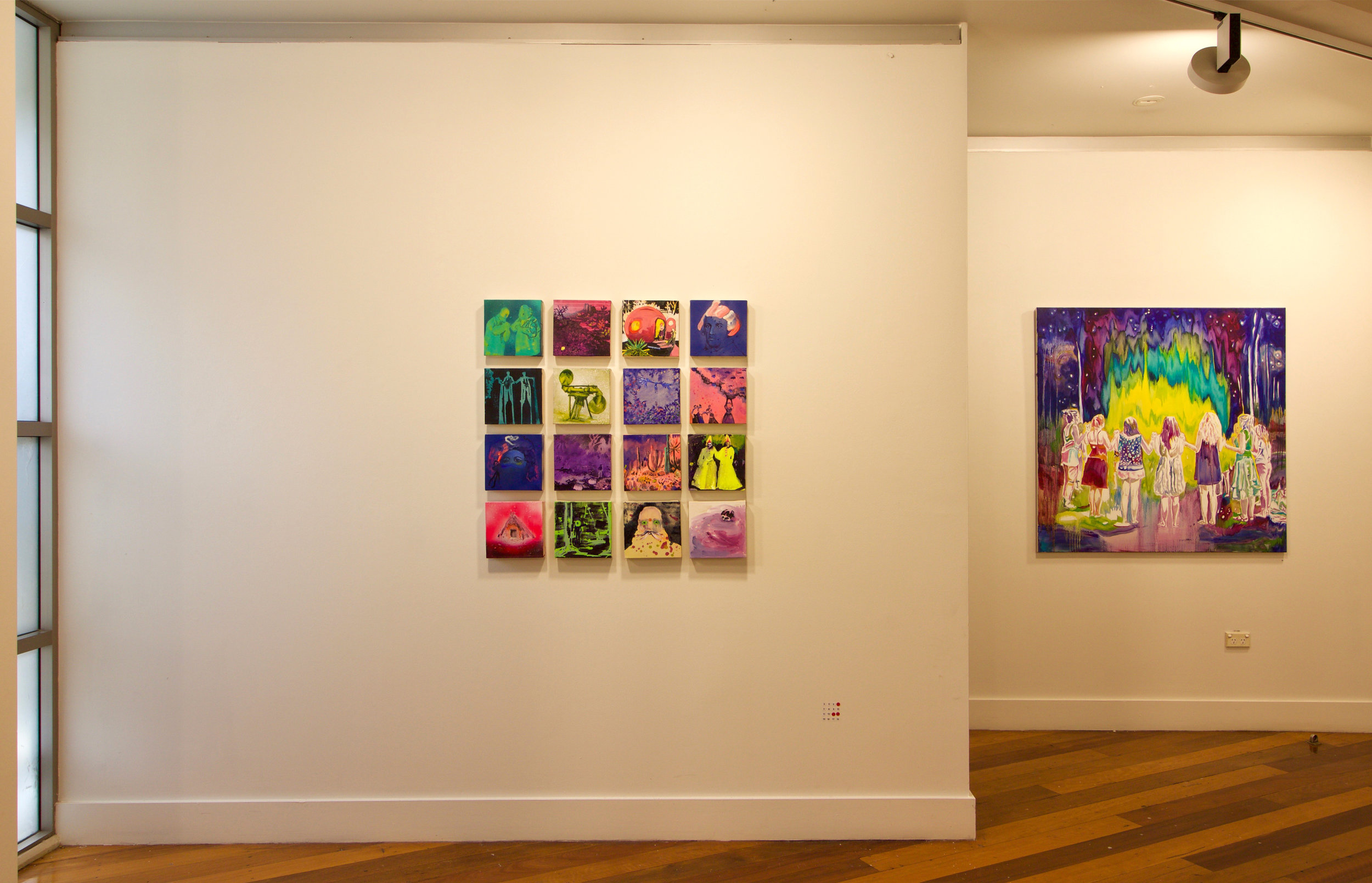 Kathryn Cowen, A Field Guide To Reality 1-16, 2015-19 and Valentina Palonen, The Circle, 2019, installation view