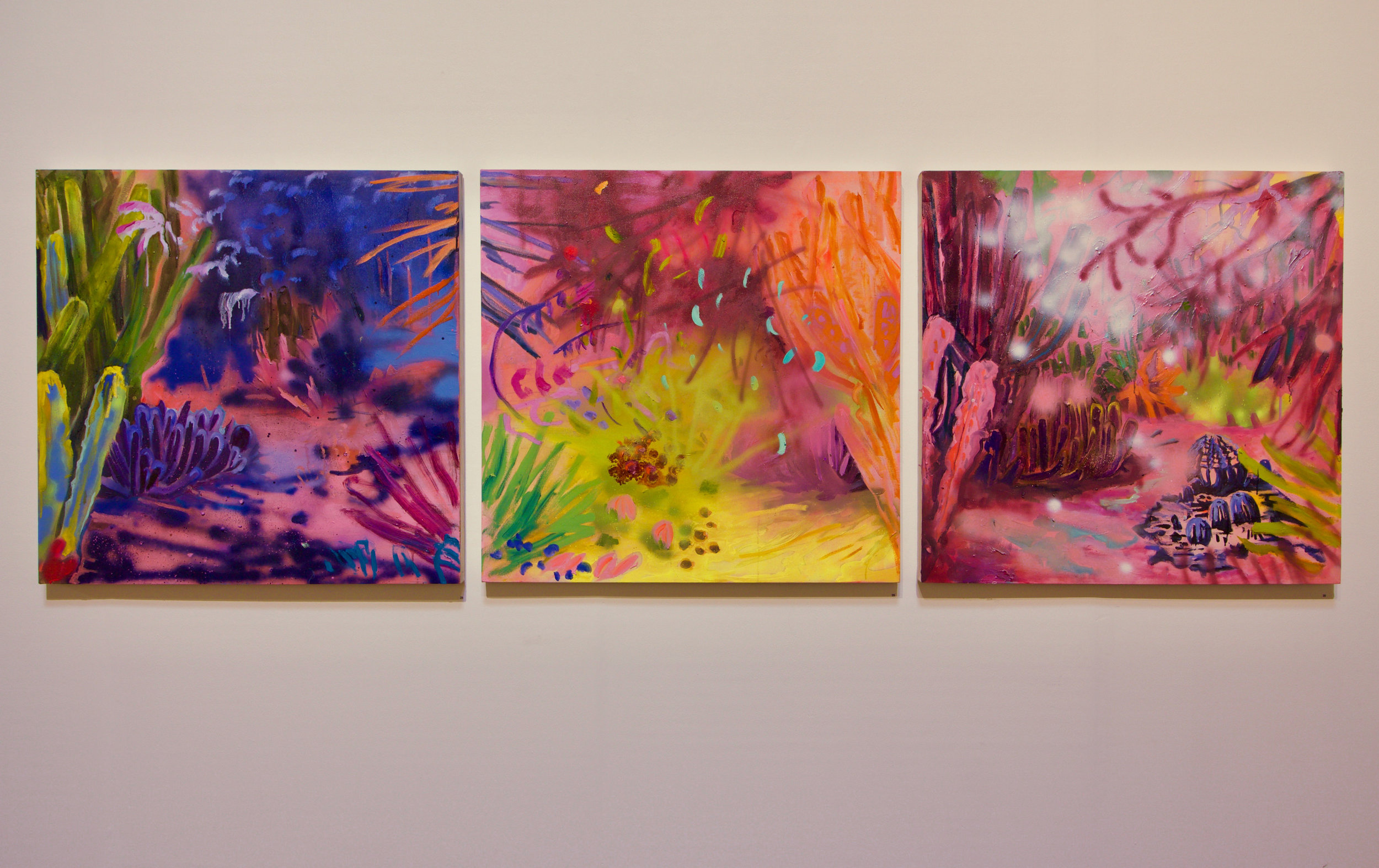 Kathryn Cowen, Multiverse 1 - 3, 2019, installation view