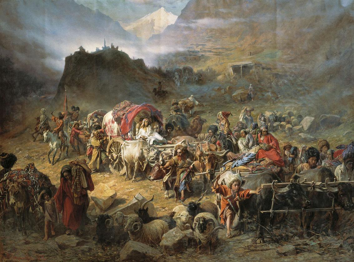 «The mountaineers leave the aul» av P. N. Gruzinsky, 1872