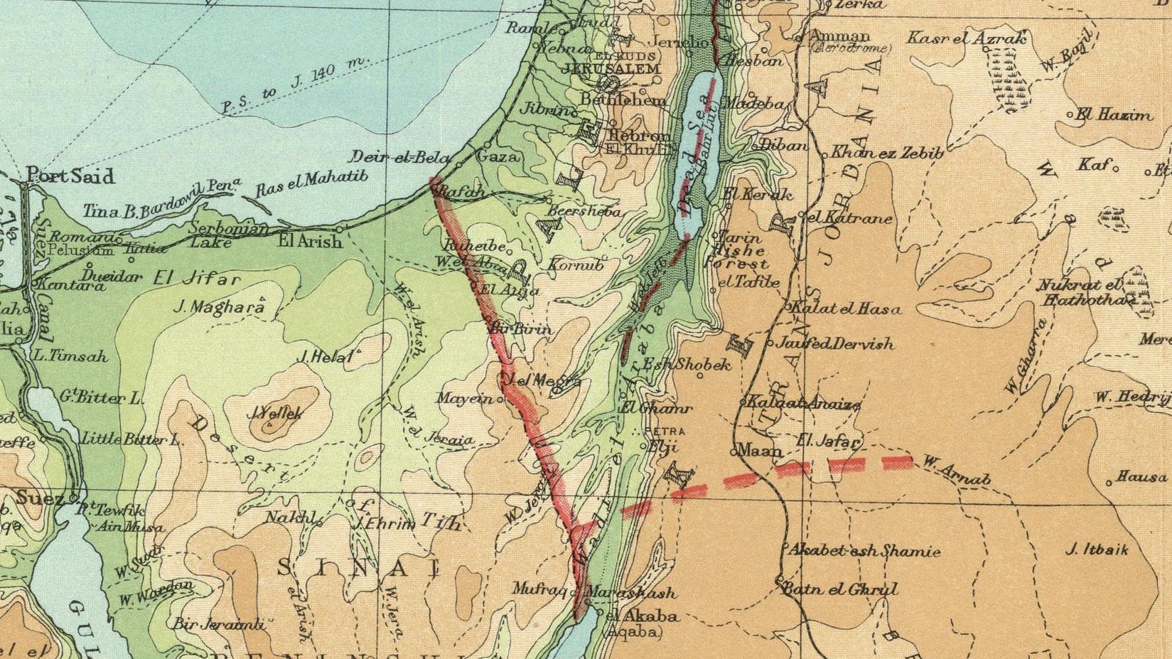 Grensa strakk seg frå Daudehavet til Raudehavet. Kartet er frå 1922 (David Rumsey Historical Map Collection)