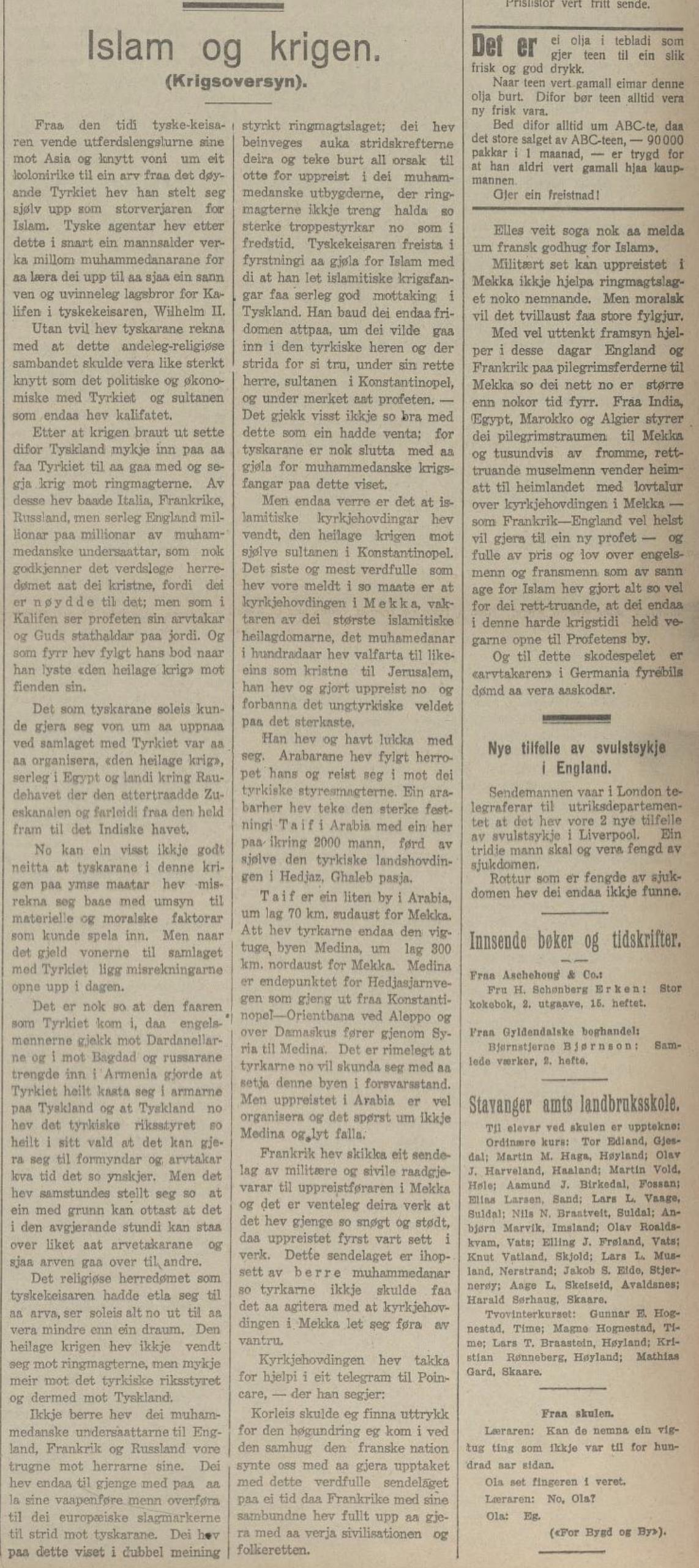 Analyse i avisa  Den 17de Mai , 4. oktober 1916.