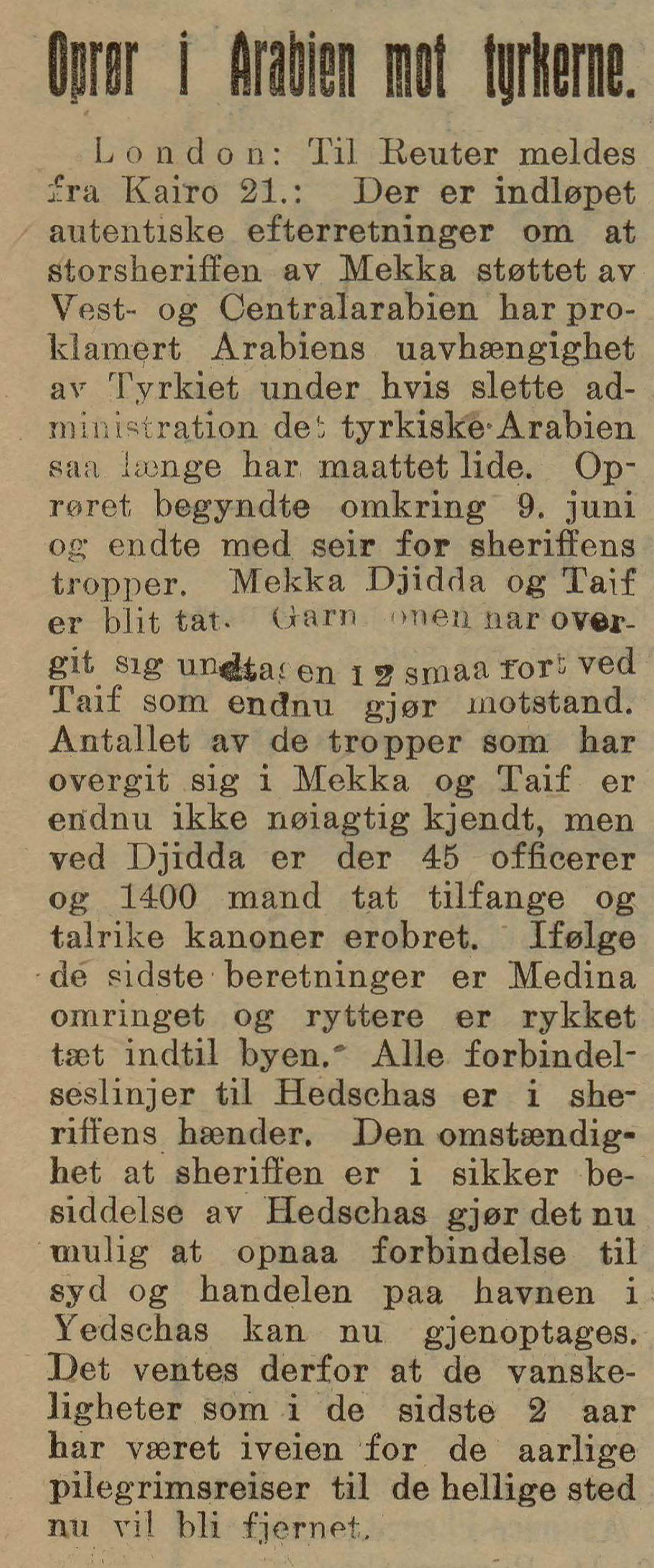 Bergens Tidende , 23. juni 1916.