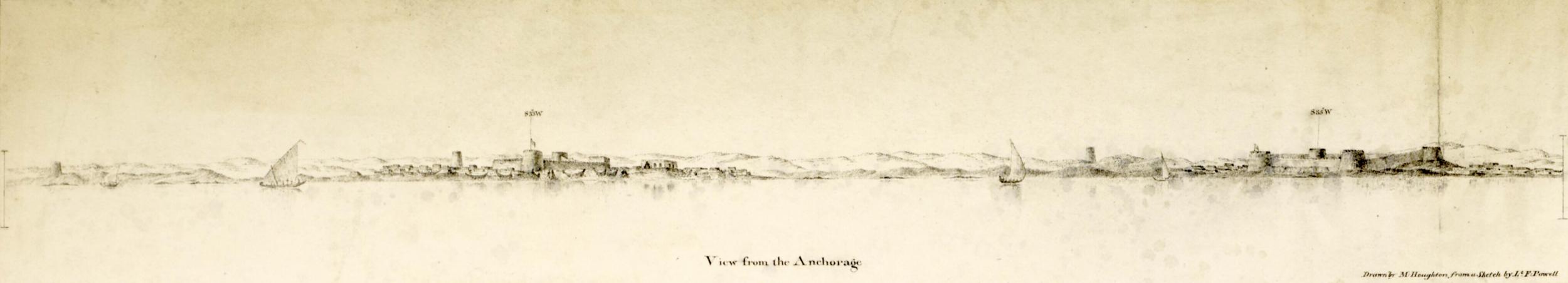 Al-Biddah (seinare Doha) sett frå kysten i 1823. ( Qatar Digital Library )