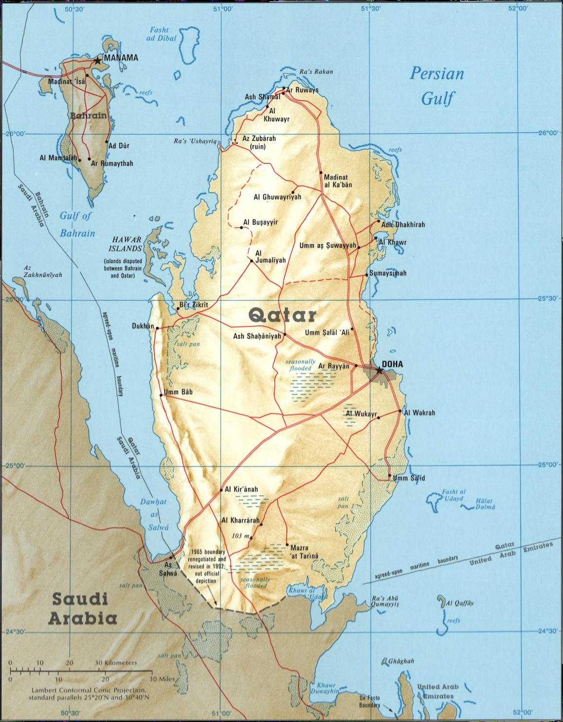 Qatar og Bahrain i 1995. Då var framleis ikkje disputten om Hawar-øyane eller grensa mot Saudi-Arabia løyst. (Kart:  Library of Congress )