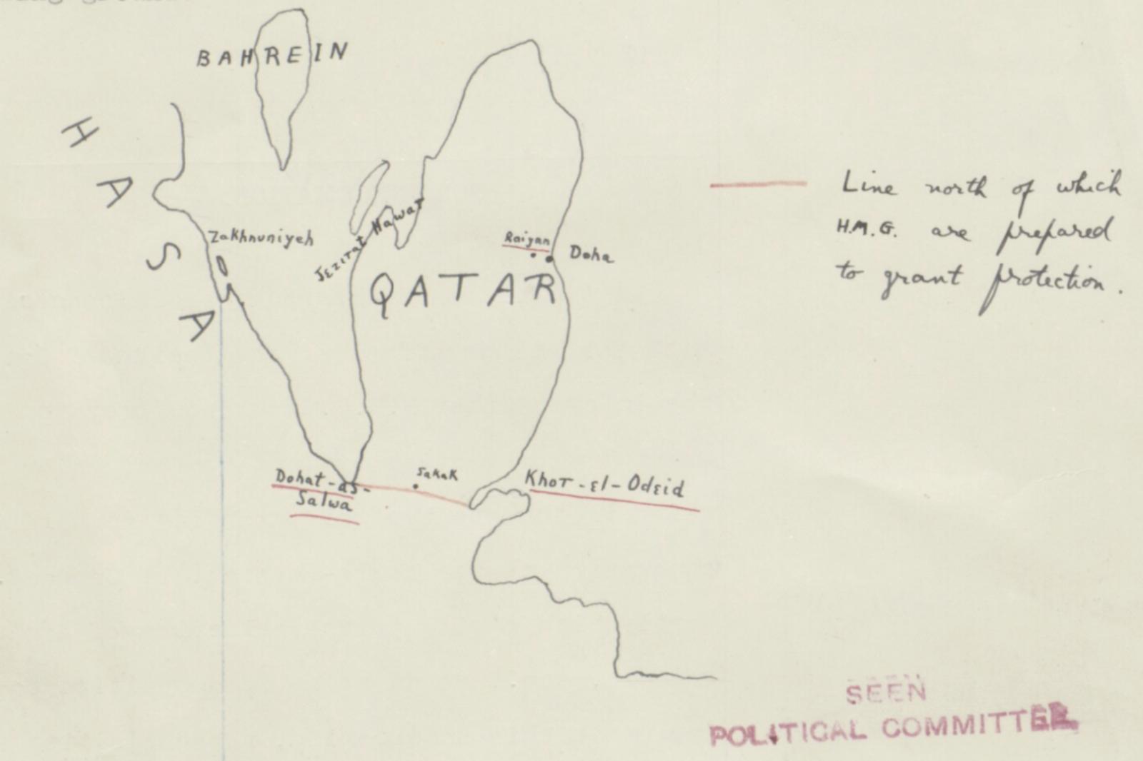 Handteikna kart frå 25. juni 1934 over Qatar. Merk den raude lina i sør som viser kvar Storbritannia er viljuge til å tilby vern.( IOR/L/PS/12/1956 )