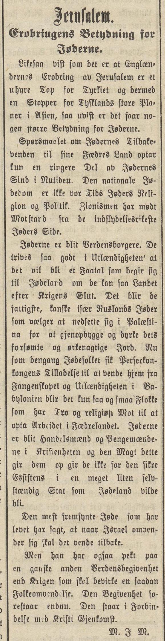 Romsdals Amtstidende bydde på ei analyse 17. desember om kva erobringa ville ha å seie for jødane og sionismen.