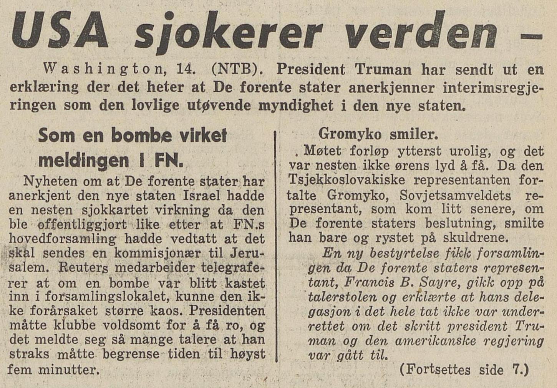 USA sjokkerer verda i  Bergens Tidende 15. mai