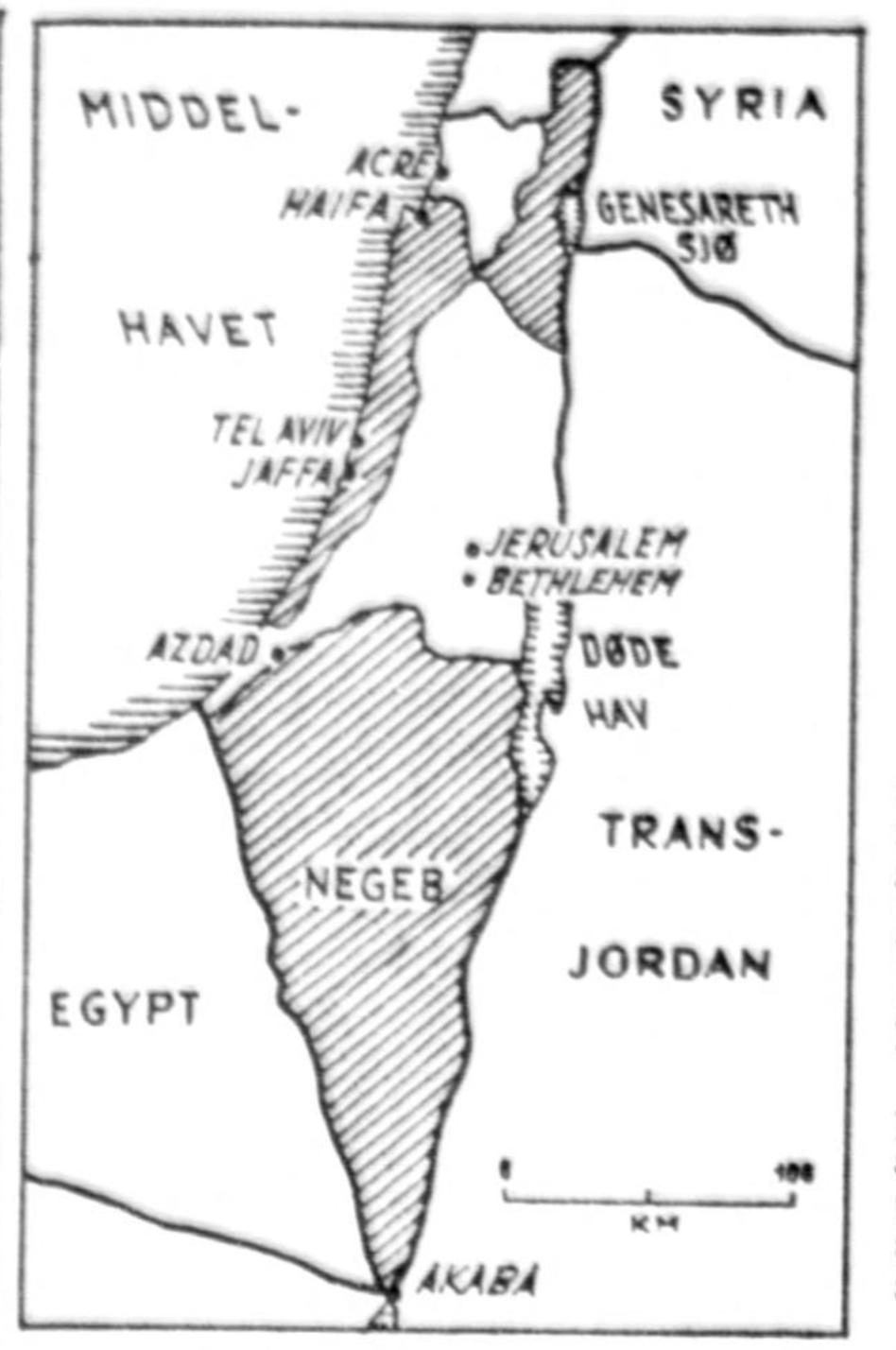 Delingsplanen illustrert i  Aftenposten , 15. mai 1948