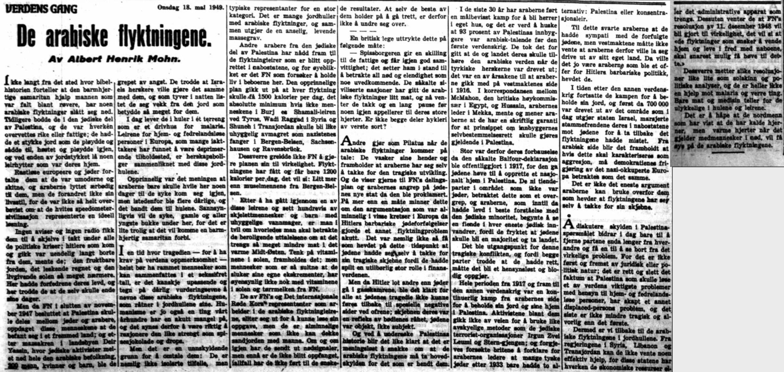 Albert Henrik Mohn om dei flyktningane i  VG  18. mai 1949.