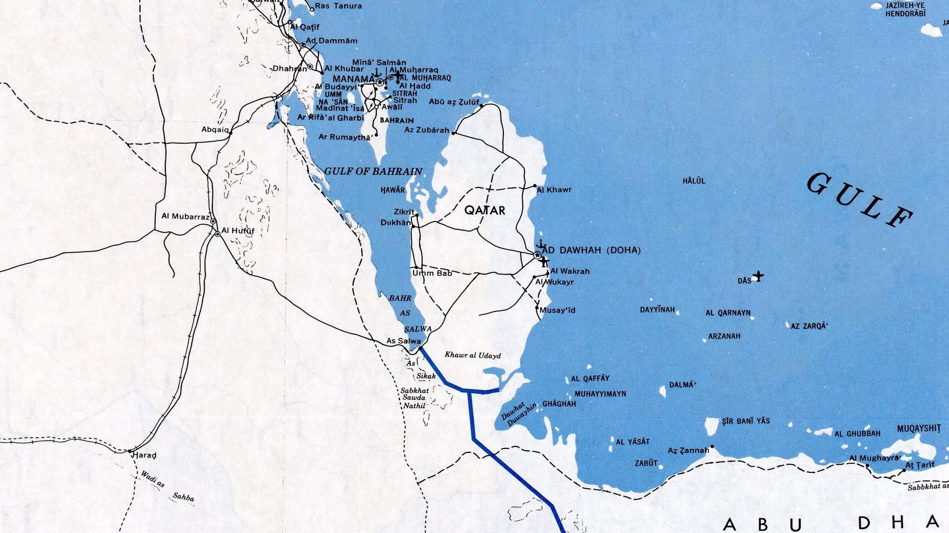 Grensene i 1991 (Endra sidan. No er det berre éi grense mellom Qatar og Saudi-Arabia.)