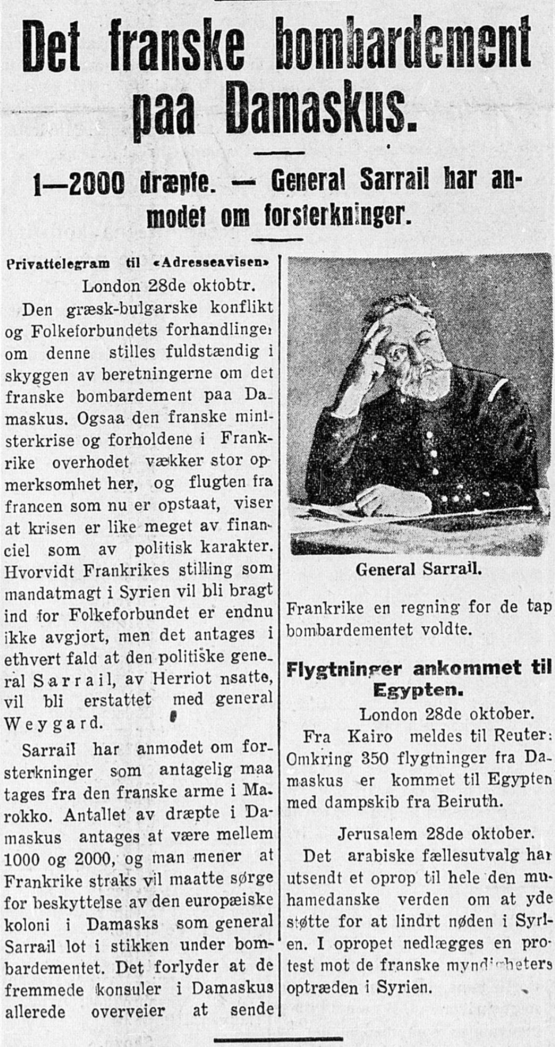 Bombinga av Damaskus omtalt i  Trondhjems Adresseavis  29. oktober 1925