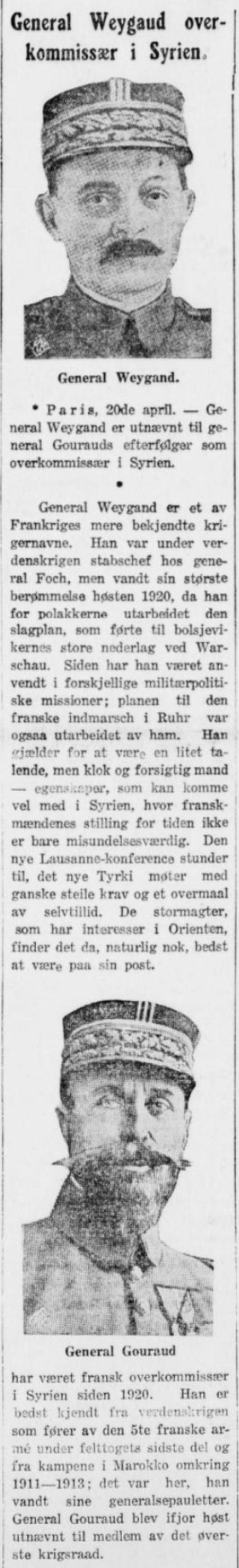 Første høgkommissærbyte, i  Morgenbladet  21. april 1923