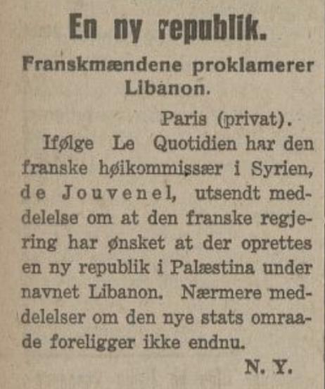 Opprettinga av republikken Libanon i  Smaalenenes Social-Demokrat  , 26 mai 1926