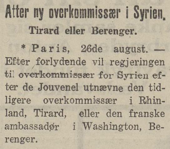 Atter ein Høgkommissær i  Morgenbladet  28. august 1926