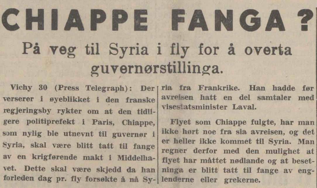 Spekulasjonar i  Sunnmørsposten  30. november 1940, som under krigen var underlagt sensur. Chiappe hadde ikkje vorte tatt til fange, men omkom i flystyrten.