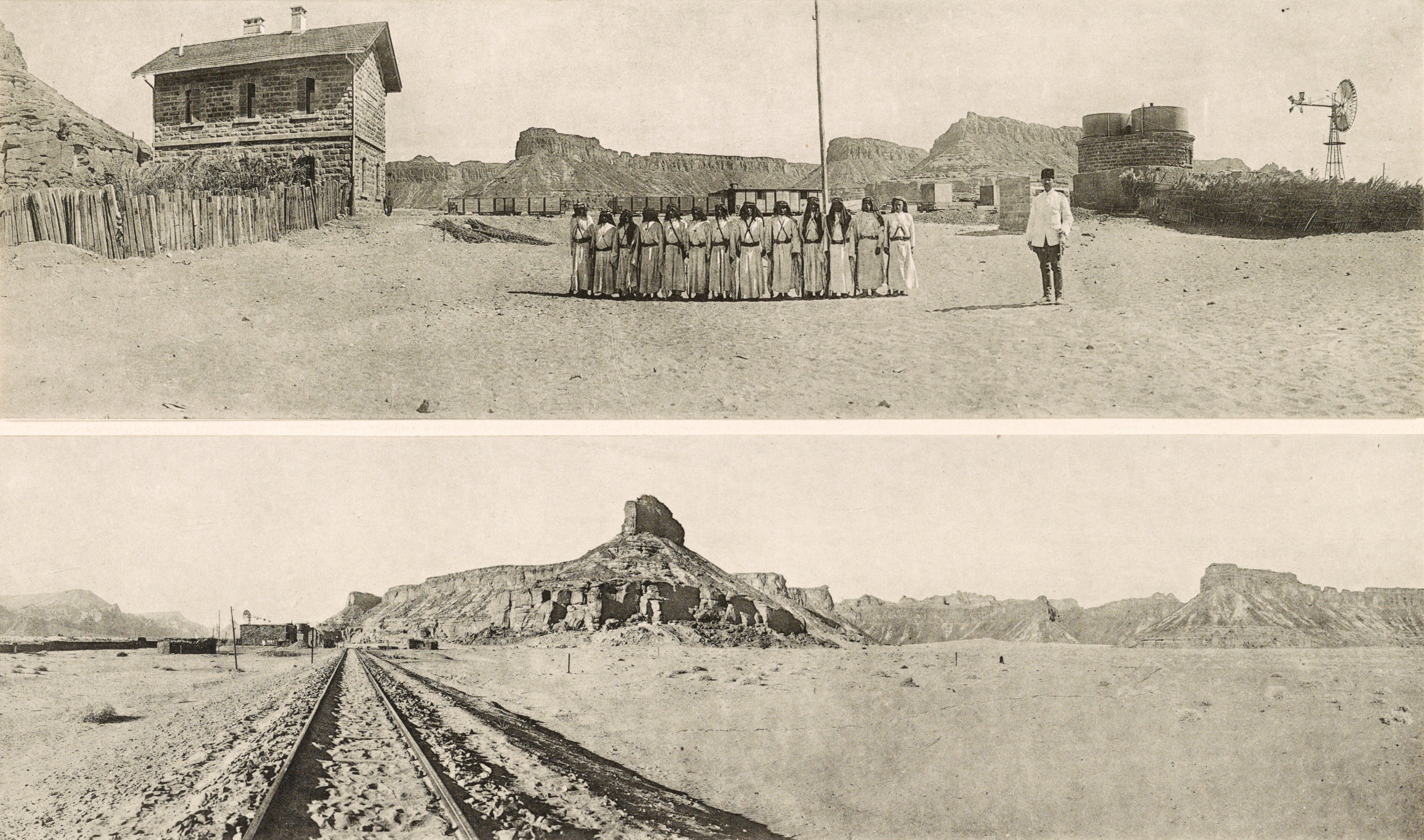 Togstasjonen Al-'Ula i 1915, då området var under Det osmanske riket. ( Library of Congress )