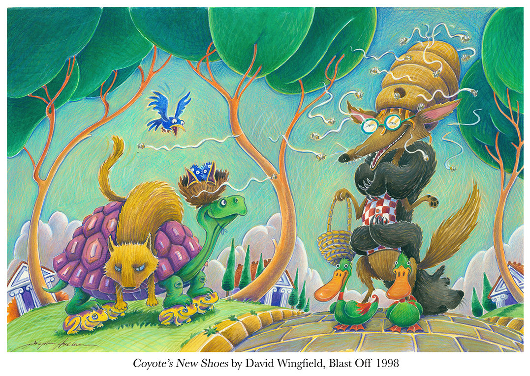 1998 Coyote's New Shoes by David Wingfield, Blast Off.jpg