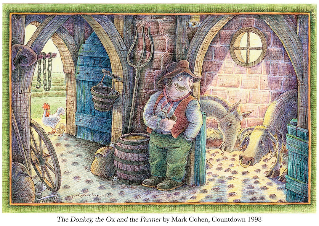 1998 The Donkey, The Ox and the Farmer by Mark Cohen, Countdown #1.jpg