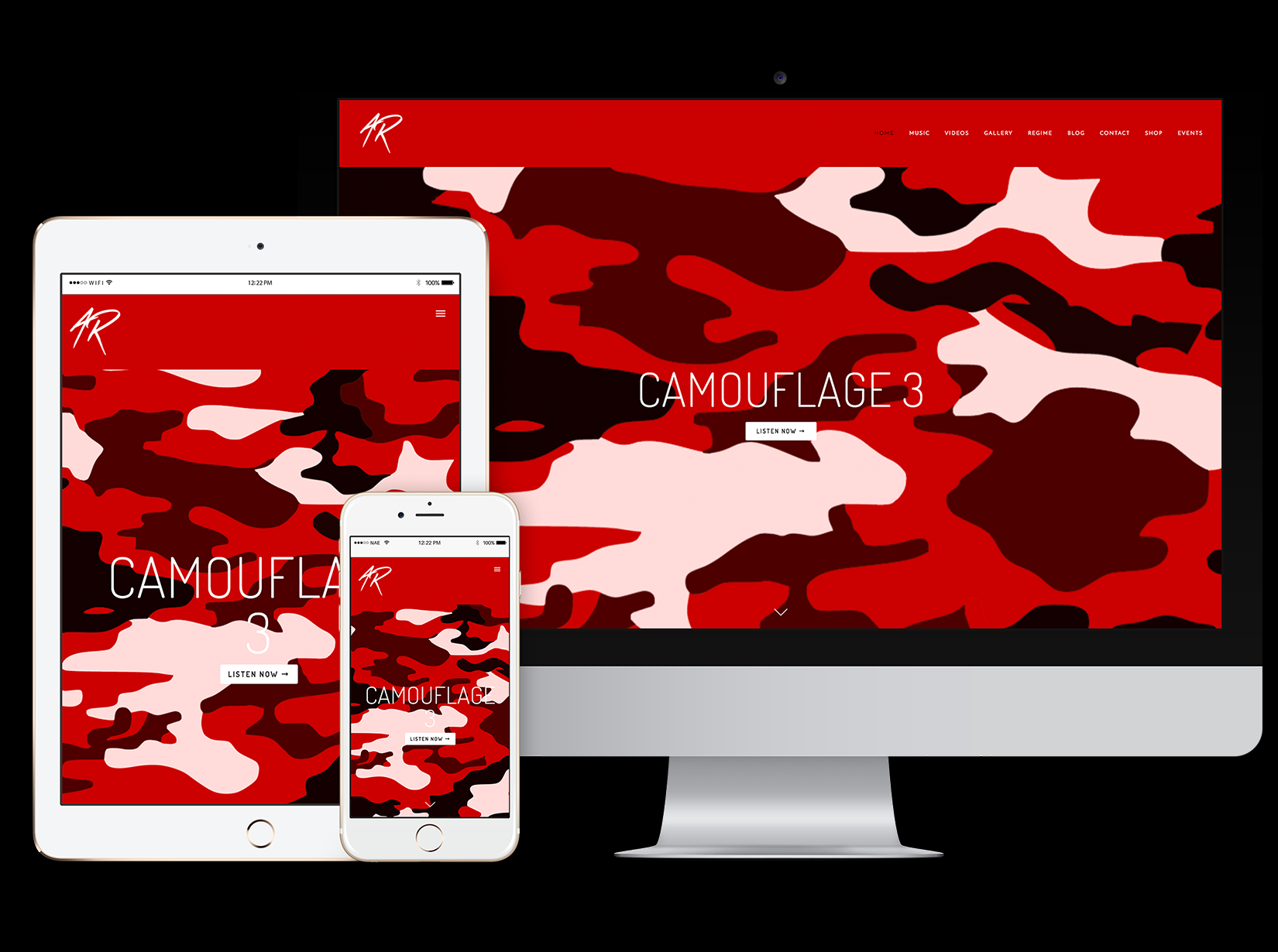 responsive website for award-winning recording artist Army Regime