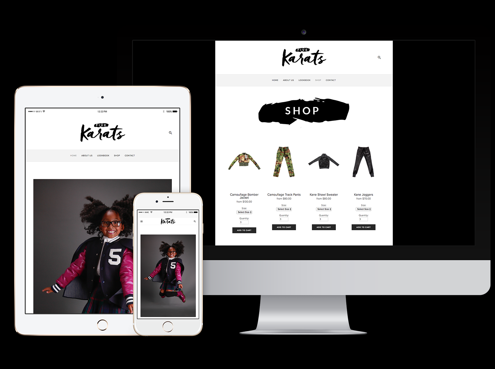 responsive e-commerce website for children & teen luxury clothing line Five Karats