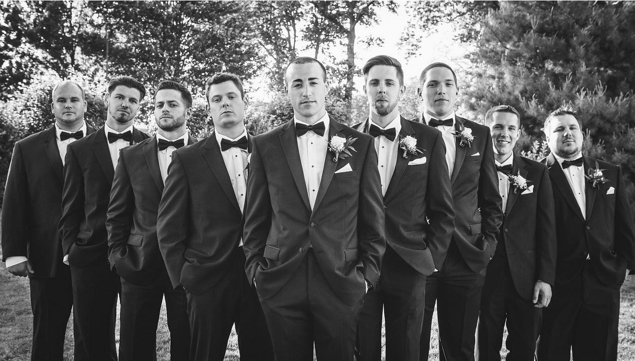 Emily Tebbetts Wedding Photography Stockton Seaview Galloway NJ New Jersey Groomsmen pose photos flying v