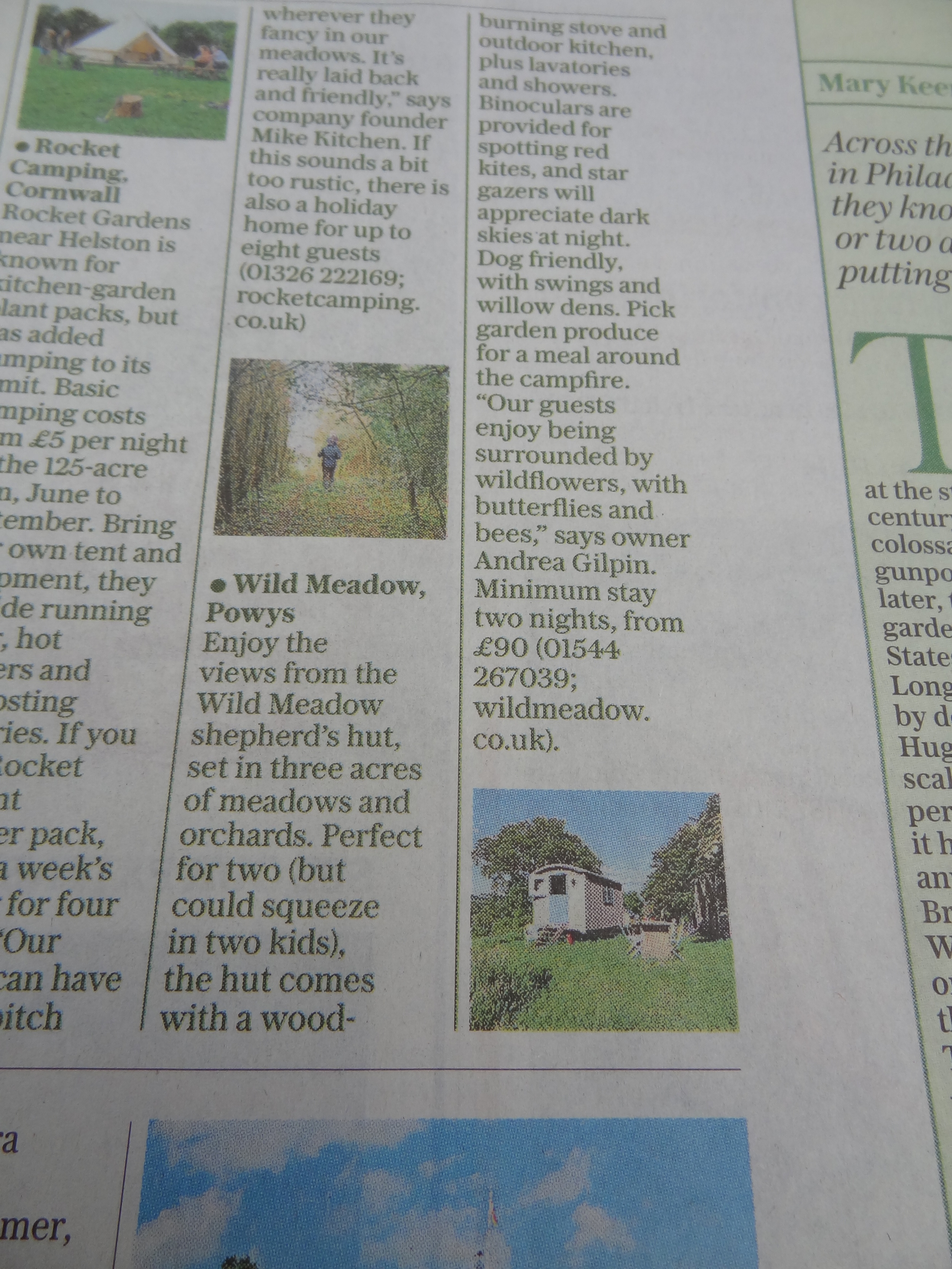 photo of newspaper article featuring the shepherd's hut
