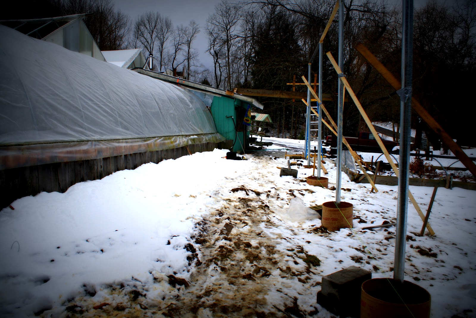 Winter 2012. During the mild winter, we were setting first posts of our new greenhouse café